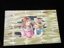 ANTIQUE VALENTINE EMBOSSED TINTED POSTCARD POSTED US 1 CENT STAMP 1907 SIGNED